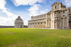 Battistero di San Giovanni  and Cathedral in Pisa, Italy. Biggest in the world Battistero di San Giovanni  and Cathedral in Pisa, Italy Stock Images