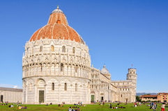 Battistero, Duomo and the Leaning Tower - Pisa. Baptistery (battistero), Pisa Cathedral (duomo) and the Leaning Tower (Torre Pendente&# Royalty Free Stock Photography