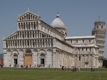 Battistero and Leaning Tower in Pisa Italy Stock Photos
