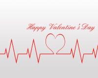 Battito cardiaco dei biglietti di S. Valentino Fotografia Stock