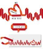 Battito cardiaco del biglietto di S. Valentino illustrazione di stock