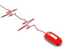 Battito cardiaco e mouse del calcolatore Fotografia Stock Libera da Diritti
