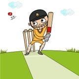 Battitore con il pipistrello e palla per il concetto del cricket Immagini Stock