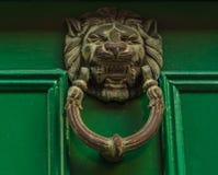 Battitore d'ottone sotto forma della testa del leone Fotografie Stock
