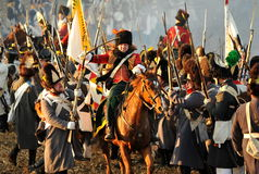 The battle. History fans reacting the battle of 1805 Austerlitz. Tvarozna village, near Brno, Czech Republic; November 27th 2009 Stock Photography