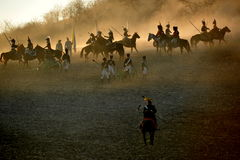 The battle. History fans reacting the battle of 1805 Austerlitz Royalty Free Stock Image