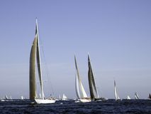 Battle. Modern and traditional sailing yachts battling for position Royalty Free Stock Photo
