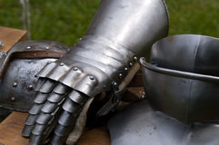 Before the battle. Armament of a knight before the battle starts Royalty Free Stock Photo