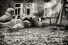 In a battle. Photo from a historic reconstruction. Sepia toning Stock Image