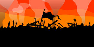 Battle. Dark medieval battle at sundown Royalty Free Stock Image