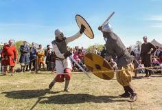 Battle of the ancient Vikings in armor. Royalty Free Stock Images