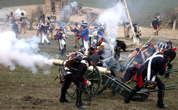 Battle at Austerlitz. Soldiers in reconstruction of Battle at Austerliz in Czech Republic Royalty Free Stock Images
