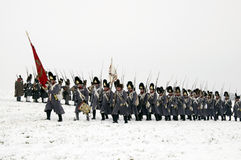 Battle of Austerlitz. TVAROZNA, CZECH REPUBLIC - DECEMBER 3: History fans in military costumes reenact the battle of Austerlitz, which Napoleon won in 1805, on Stock Photo