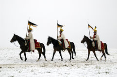 Battle of Austerlitz. TVAROZNA, CZECH REPUBLIC - DECEMBER 3: History fans in military costumes reenact the battle of Austerlitz, which Napoleon won in 1805, on Royalty Free Stock Images