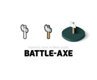 Battle-Axe icon in different style. Battle-Axe icon, vector symbol in flat, outline and isometric style Vector Illustration
