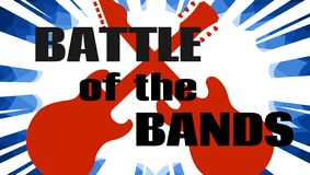 Battle of the bands music event promotional poster vector illustration of two red guitars clash over white and blue starbust stock illustration
