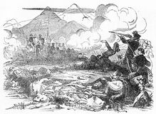 Battle of Beuna Vista between the Americas and Mexico. Engraving of the Battle of Beuna Vista, 1847, between the Americans and Mexicans. From A New History of Royalty Free Stock Image