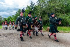 The battle of Black Creek. TORONTO – JUNE 17, 2017: Soldiers at the battle of Black Creek revolutionary war re-enactment in Black Creek Pioneer village in June Royalty Free Stock Photo