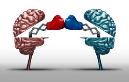 Battle Of The Brains. And war of wit concept as two opposing open human brain symbols fighting as a debate or dispute metaphor and an icon for creative Royalty Free Stock Images