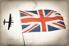 Battle of Britain. Vintage toned bomber aircraft and British Union flag Battle of Britain concept Stock Photography