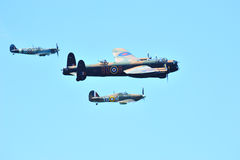 Battle of Britain Memorial Flight. With a Lancaster Bomber Spitfire and Hurricaine Stock Image