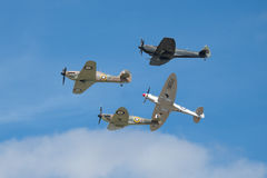 Battle of Britain Memorial Flight. The Battle of Britain Memorial Flight BBMF is a Royal Air Force flight which provides an aerial display group usually Royalty Free Stock Photo