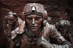 Battle of Britain Memorial, London UK. Cropped image of the bronze Battle of Britain sculpture Stock Image