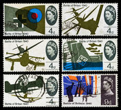 Battle of Britain Postage Stamps. Set of used postage stamps printed in Britain celebrating the 25th Anniversary of the Battle of Britain showing British and Royalty Free Stock Images