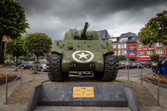 Battle of the Bulge. Memorial of an American Sherman tank in Bastogne, Belgium, to commemorate the Battle of the Bulge during World War II royalty free stock image