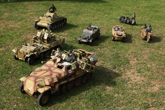 Battle of the Bulge. Scale models re-enact ment. ORECHOV, CZECH REPUBLIC - APRIL 27, 2013: Scale models attend the re-enactment of the Battle of the Bulge (1944 stock photo