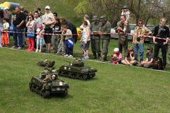 Battle of the Bulge. Scale models re-enact ment. ORECHOV, CZECH REPUBLIC - APRIL 27, 2013: Scale models attend the re-enactment of the Battle of the Bulge (1944 royalty free stock photos