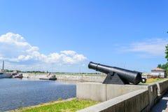 Battle cannon on the waterfront in Kronstadt. Kronstadt, St. Petersburg. Attractions Of Kronstadt. Ancient artillery gun. Gun - monument martial merits of stock photo