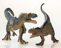 A Battle Between a Carnotaurus and an Allosaurus Stock Images