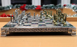 Ornate Battle Metal Chess Board Stock Images
