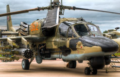 Battle chopper. Russian military helicopter on the ground with sky in background Royalty Free Stock Photo