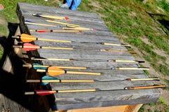 Battle crossbow bolts. International Championship on the historical medieval battle Call of heroes. It passes near Kiev, in the village of Kopachev, Ukraine, 19 Stock Photo
