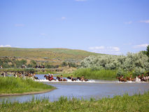 Battle Crossing of Indians at Little Bighorn Stock Image