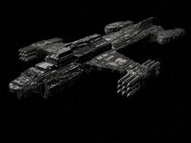 Battle cruiser. A 3D render of a spaceship battle cruiser class Vector Illustration