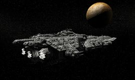Battle Cruiser Passing Mercury. A Heavy Battle Cruiser of the Galactic Fleet on patrol passes Mercury Stock Images