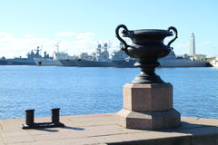 Battle cruisers in haven of Kronstadt. Russia Royalty Free Stock Photo