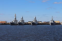 Battle cruisers in haven of Kronstadt. Russia Royalty Free Stock Photography