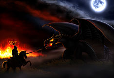 The battle with the dragon. The moon and the fire lit up the night, and a knight ready to battle with the dragon Stock Photos