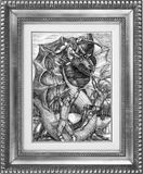 Battle with dragon picture in frame. Hand drawn. Series DorwarD collection Dark dreams Stock Photos