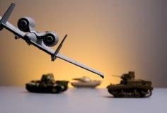Battle field. Plane showing a battle field against tank stock images