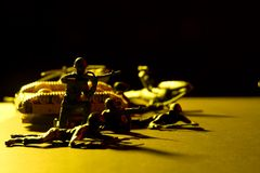 Battle field. Toy war soldiers at war royalty free stock photos