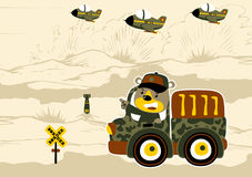 Battle field. Animal army on armored vehicle with jets, vector cartoon illustration. EPS 10 Royalty Free Stock Images