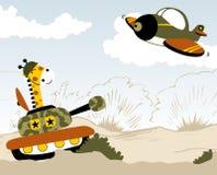Battle field. Giraffe on a tank ready to fire a jet, vector cartoon. EPS 10 Stock Photo
