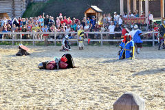Battle. the first victim. International Championship on the historical medieval battle Call of heroes. It passes near Kiev, in the village of Kopachev, Ukraine Stock Image