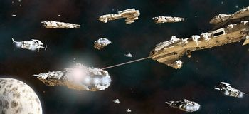 Battle Fleet in Action. Space battle between fleets of giant science fiction ships, 3d digitally rendered illustration Royalty Free Stock Photo