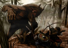 The battle in the forest. Barbarians fight with the horned demon Stock Images